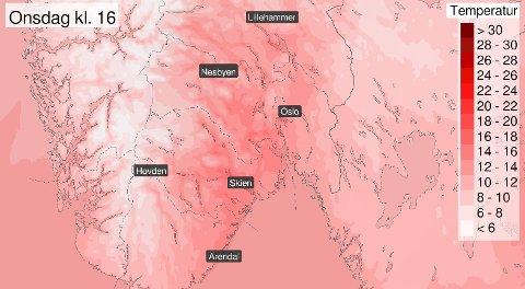 GODT OG VARMT: Nesten hele Østlandet kan vente seg temperaturer opp mot 20 grader i løpet av onsdagen.