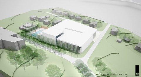 VISJON: Arkitektfirmaet Terje Grønmo arkitekter AS lagde denne skissa som et eksempel på hvordan den nye svømmehallen kan bli.