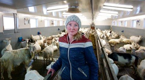 GRUER SEG: Geitbonde Elise Blixgård mener praksisen med å avlive friske nyfødte kje er et stort etisk problem for geitenæringa. Om to uker skal de fleste av geitene hennes sette nye kje til verden. – Jeg gruer meg, sier geitbonden.
