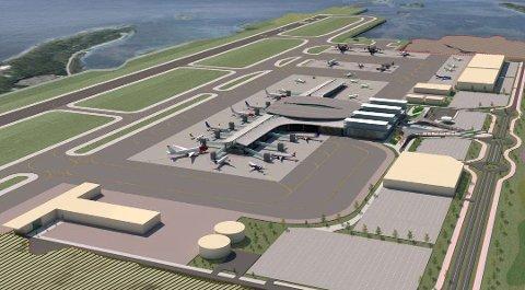 En ny flyplass i Bodø skal, etter planen, stå ferdig mellom 2024 og 2026. Bildet er en skisse fra Avinors overordnede masterplan.