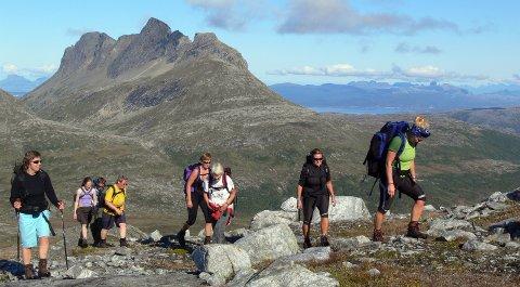 Populær topp: Lurfjelltinden er et populært turmål. Her fra en fellestur med Bodø og Omegn Turistforeningen. Falkflågdalen bak til venstre.Foto: Tor Magne Andreassen