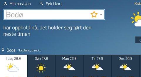 Sol og sommer. Like før oktober kan det bli 20 grader i Salten, tror Storm-meteorolog Roar Inge Hansen.