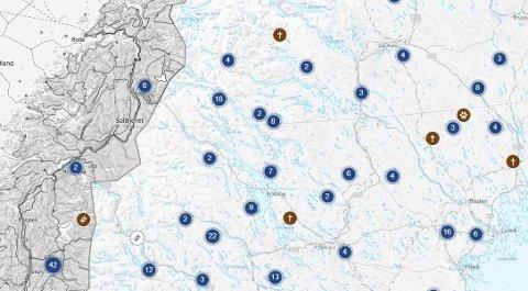Observasjoner av bjørn i 2020. Skjermdump: Rovbase.se