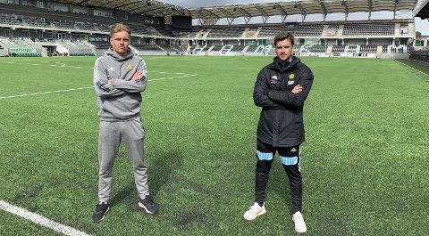 Ull/Kisa-jobben er Sindre Tjelmelands første som hovedtrener i toppfotballen. Han har seks år bak seg i Åsane. Her sammen med Ull/Kisa-midtstopper Jens Husebø (t.v.).