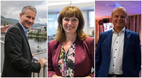TRENG TID: Ordførar Olve Grotle (H), Jenny Følling (Sp) og Helge Robert Midtbø (Ap) leier dei tre største partia i Sunnfjord. Ingen av dei er heilt klare til å flytte meir aktivitet frå Førdehuset.