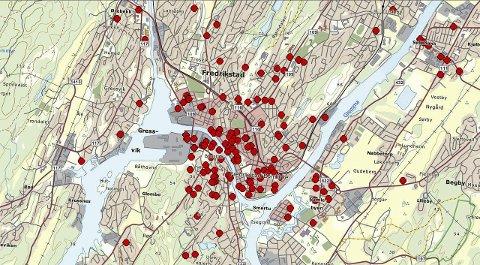 Verst i sentrum: Hele sentrum og de sentrumsnære områdene på Kråkerøy er områder hvor det stjeles mye sykler, viser politiets kart over sykkeltyverier i Fredrikstad. kart: politiet