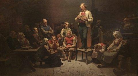 """Adolph Tidemands berømte maleri """"Haugianerne"""", har foreviget Hans Nielsen Hauges standhaftighet."""