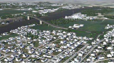 Når kommer brua? Her ser vi en tegning av den planlagte brua fra Omberg til Torp fra 2018. Bystyret har vedtatt at den skal bygges i dette området, men spørsmålet er når og om den kommer.  I det nye forslaget er en foreslått utbygd fra 2032 til 2036.