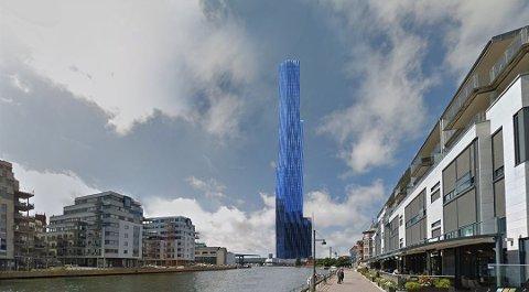 """""""STORE BLÅ"""" VED BRYNILD? Illustratør John Andersen viste hvordan skyskraperen kan bli seende ut på en av de foreslåtte tomtene vest for Brynild fabrikker. Nå blir det verken her, eller noe annet sted. Bygget blir heller bygget i bredden."""