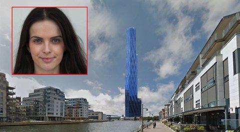 Positiv: De unge er mest positive til Røkke-tårnet. AUF-leder Maria Imrik (22) (Innfelt) tror tårnet ville gjort byen mer attraktiv. Illustrasjonen viser hvordan tårnet kan bli seende ut på den foreslåtte tomten vest for Brynild.