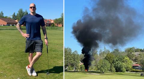 Tidligere Stjernen-spiller og ivrig hobbygolfer Jonas Gabrielsen havnet midt i dramatikken på Gamle Fredrikstad golfklubb lørdag ettermiddag.