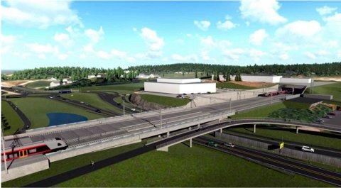 SKOPPUM: Til venstre perrongen mellom de to sporene på det nye togstoppet. Til høyre tunnelen på Viulsrød og i midten riksvei 19.