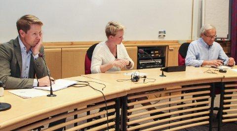 – FLERE FELLES UTFORDRINGER: Lunners ordfører Harald Tyrdal (Ap), Jevnakers varaordfører Trine Lise Olimb (Ap) og Grans ordfører Willy Westhagen (GBL).