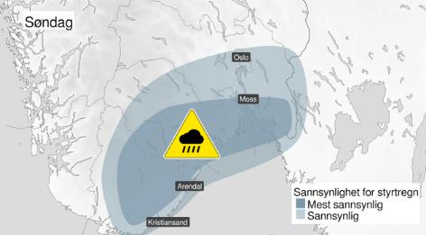 Mye regn: Det er sendt ut farevarsel om styrtregn for store deler av Østlandet søndag.