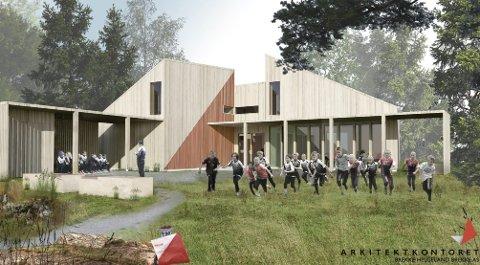 Slik kan det bli: Hvis Haugesund idrettslag virkeliggjør planene om ny O-hytte i Djupadalen. Illustrasjon: Arkitektkontoret Brekke Helgeland Brekke AS