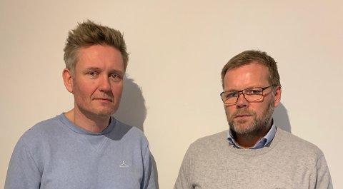 GJORT DET DE KAN: Styreleder Owe Høines og styremedlem Håkon Haga i Steiningsholmen Eiendom mener de har gjort det de kan for at Skude Industri skulle få bli i lokalene.