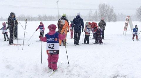 START: Søndag startet Ollmolekene og det var 100 unger som trosset været og var med på første runde i årets utgave.  FOTO: PRIVAT