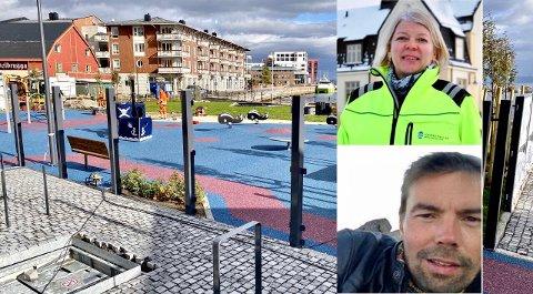 SAMARBEID: Havnesjef Anne Britt Bekken og daglig leder Pål Stian Jakobsen ved Kaikanten kro og catering ser frem til å oppruste området rundt kaia og den nye lekeplassen i sentrum sammen med Harstad kommune.