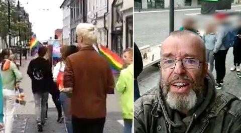 Levi Jensen var torsdag i Harstad. Predikanten har blant annet fått kritikk for å dele bilder av barn og unge uten tillatelse. Fra sitt besøk har han delt en video som viser en folkemengde rundt han, deriblant flere unge.