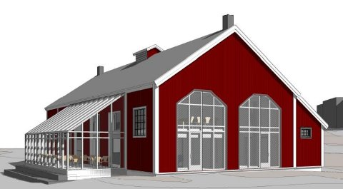 KAN BLI NY: Slik så Friis Arkitekter AS og Nore og Uvdal Næringsselskap for seg en ombygd Lokstall i 2014. Nå vil formannskapet i Nore og Uvdal kjøpe hele det gamle stasjonsområdet på Rødberg.