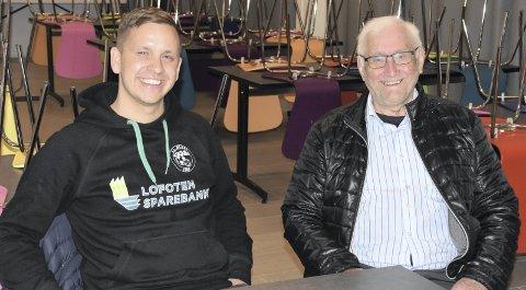 LEDERE: Sondre Fjelltun Hansen (til venstre) er leder i IL Blest i jubileumsåret. Leif Kåre Karlsen var den aller første lederen i idrettslaget i 1968.Alle foto: Eirik Eidissen