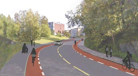 I Langbølgen skal det etableres sykkelfelt på begge sider av veien.