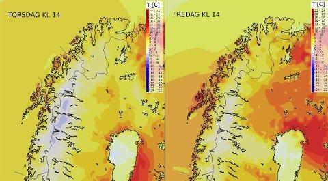 RØDT=VARMT: Her er temperaturprogonosene fra meteorologene for torsdag og fredag. Illustrasjon: Fra Twitter-kontoen Meteorologene.