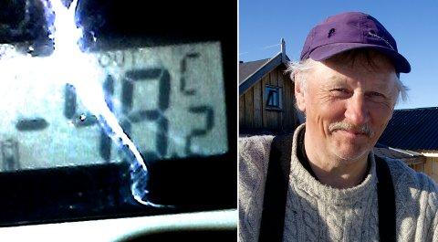 BRRRRR: 48,2 kuldegrader ved Kautokeinoelva onsdag ettermiddag. Småkjølig, konstaterer reineier Peer Mikkelsen Gaup.