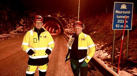 VÆR TÅLMODIGE: Byggeleder Ken Johar Olaussen og kontrollingeniør Torstein Eriksen ber trafikkantene være tålmodige. – Dette blir bra når prosjektet er ferdig, men man må regne med noen utfordringer underveis.