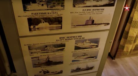 NORSKE SKIP: Den russiske angrepsubåten har plansjer over en rekke norske skip, viser videoen fra det russiske forsvarsdepartementet.