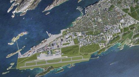 Nye Bodø - planer for flyttingen av flyplassen. Illustrasjon: Bodø kommune