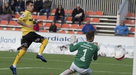 Matcvinner: Rocky Lekaj scoret begge målene da Raufoss slo Ull/Kisa 2-1 sist. I morgen lover han å gi alt for Raufoss, selv om han helst hadde ønsket å få gå til avdelingskollega Kristiansund. Arkivbilde