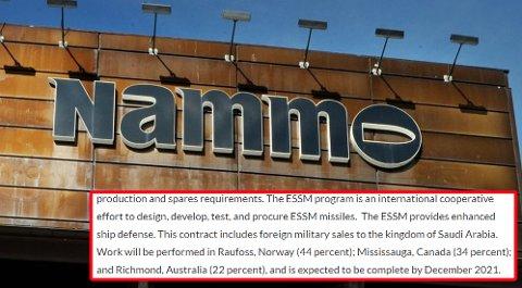 SAUDI-EKSPORT: Dette er teksten Riksrevisjonen mener viser at Nammo er hovedaktør i produksjon av missiler til krigførende land.