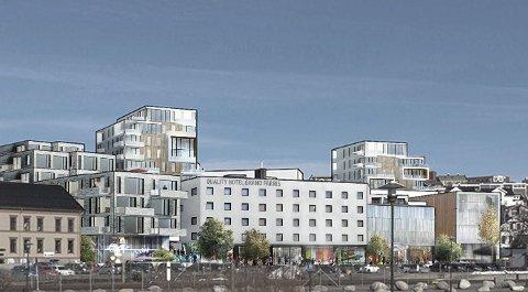 Gigantprosjekt: Høringen for Grandkvartalet gikk ut 17. juni. Til sammen har 74 uttalelser blitt sendt inn til Larvik kommune.Illustrasjon: Dark Arkitekter