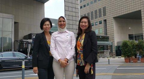 F.v. Rebecca Lee, Shaza Sameh og Emily Goh. Lee og Sameh er nyansatte ved TAG Sensors' kontor i Singapore, mens Goh er portfolio director i Elite Capitals som har investert i selskapet.