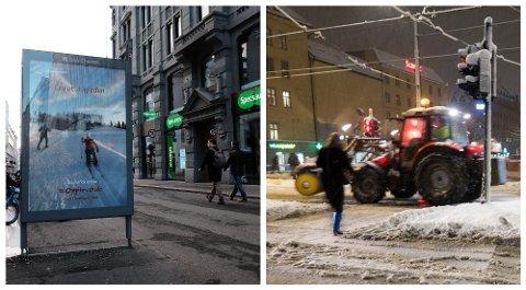 ETT ÅR SKILLER: Dette er kontrastene mellom januar 2019 (til venstre) og januar 2018. Foto: Trond Lepperød/Paul Kleven (Nettavisen/NTB Scanpix)