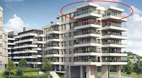 PRISREKORD: Nesten 90.000 kroner per kvadratmeter ble prislappen for syvende etasje mot sjøen i andre byggetrinn (A3) i Nye Kilen Brygge. (Illustrasjon: Miliarium Bolig)