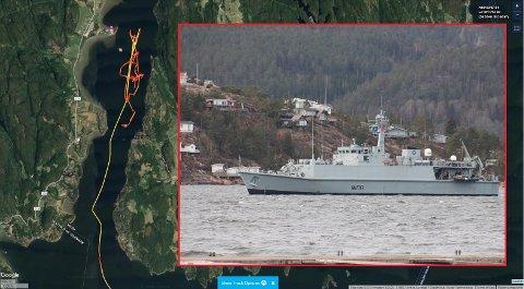 SIRKLET RUNDT: Etter å ha sett på MarineTraffic-kartet, kunne man lure på hva i alle dager et NATO-skip drev med inne i Drammensfjorden. Her er skipet mellom Berger og Holmsbu.