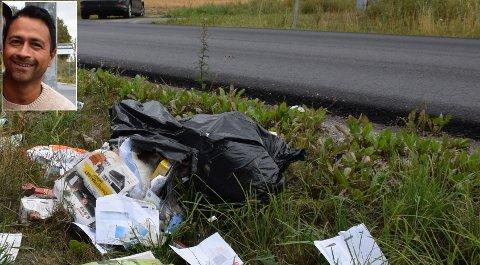 FANT SØPPEL: Peter Korsvold (innfelt) kom over denne sekken med søppel ved Langnesveien. Det viste seg å skyldes et uhell.