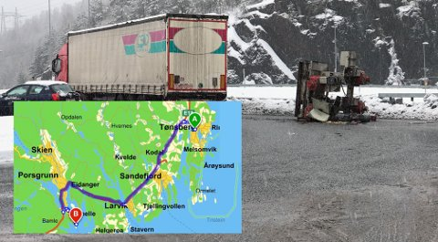 7,5 TONN I BAKKEN: Lastebileierforbundet er sjokkert over at sjåføren fikk kjøre uten sikring.