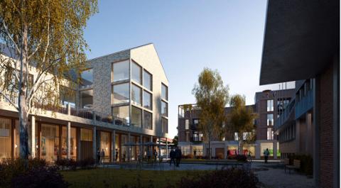 VED FOKETS HUS: Illustrasjon av hvordan fortetting ved Hammondgården og Folkets hus kan se ut.