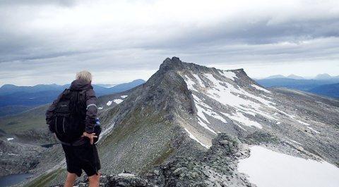 Oppdag Norge i sommer, oppfordrer helseminister Bent Høie (H). Bildet viser Steinar Brunsvik, som står på Trolltind og skuer bort på Innerste og Ytterste Åbittind.