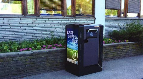 REKLAMEFINANSIERT: Dette er de nye søppelkassene kommunen vurderer å sette ut. Bystyret skal behandle forslag om en prinsippavgjørelse onsdag.