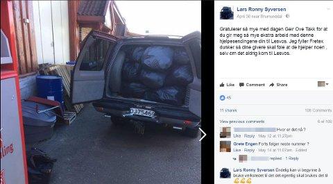 FULLT BEGER: Lars Ronny Syversen i Dreyer Transport AS hadde ikke råd til å si nei til flere oppdrag fordi firmaets ene lastebil sto full av en hjelpesending det aldri ble penger til å sende. 30. april leverte han 50 kubikk av Geir Ove Kvalheims hjelpesending i Fretex-containere.