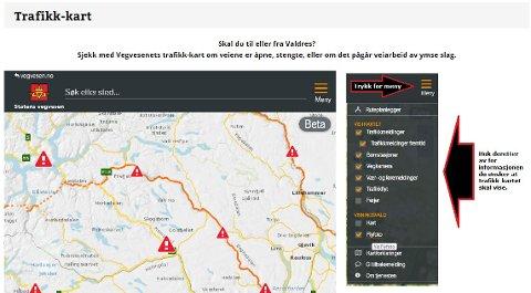 Skjermdump fra trafikk-kartseksjonen på Valdresmagasinet.com