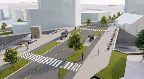 TILRETTELAGT FOR GÅENDE: Den nye broen vil ha brede fortau og sykkelfelt, samt gangfelt. Her er broen sett fra Vestbyveien i retning Garderveien. Til høyre mølla.