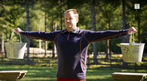 Per Gunvald Haugen vant utfordrerduellen i melkespannholding på Farmen.