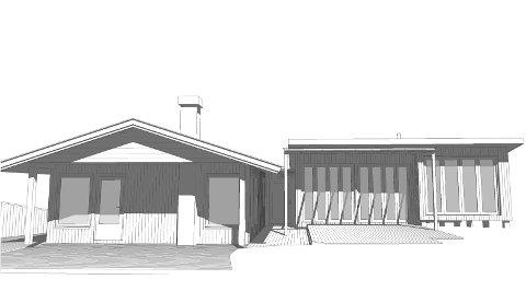 Slik ser hytteeierne for seg tilbygget (t.h.) på Sandviktangen. Illustrasjon: Norsjø Arkitekter