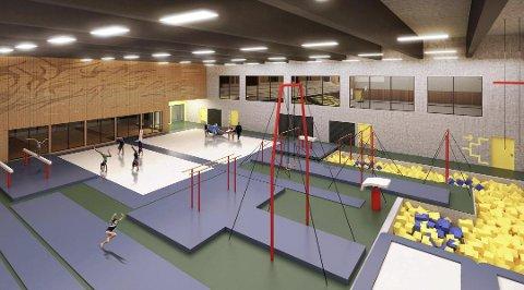 TURNHALL: Slik ser man for seg at turnhallen kan se ut i det nye anlegget på Uenes. For å få driften av hallen til å gå rundt legges det opp til at de største brukerne selv står for en stor del av renholdet. Tegning: TROLLVEGG.