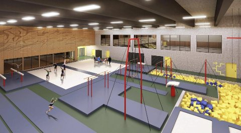 TURNHALL: Slik ser man for seg at turnhallen kan se ut i det nye anlegget på Uenes. Hva turnforeningen får råd til av utstyr er ikke endelig avklart.